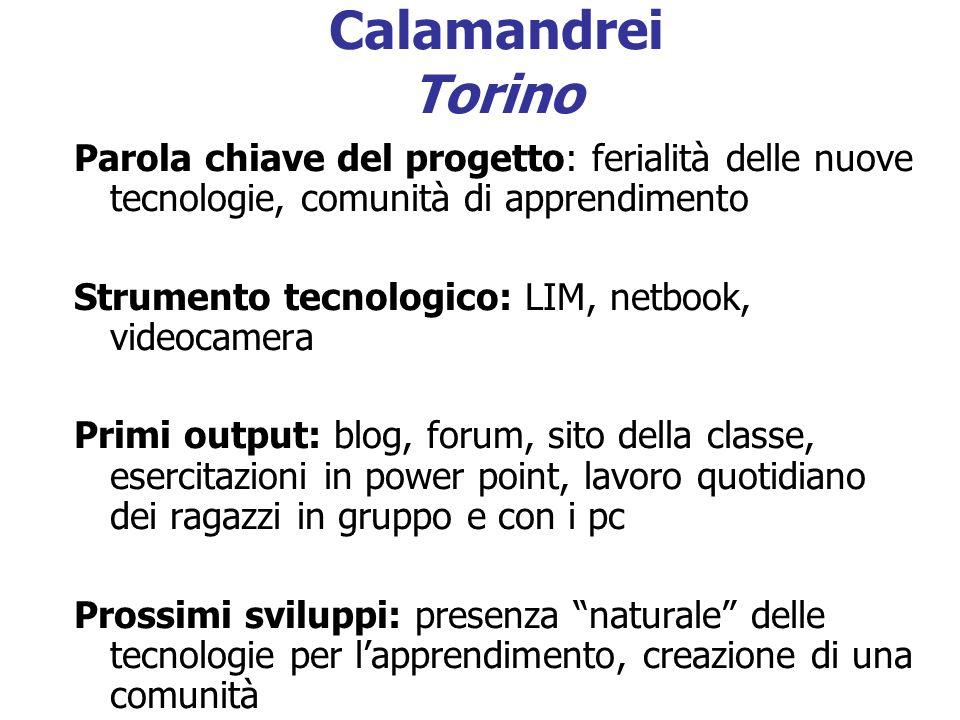 Calamandrei Torino Parola chiave del progetto: ferialità delle nuove tecnologie, comunità di apprendimento Strumento tecnologico: LIM, netbook, videoc
