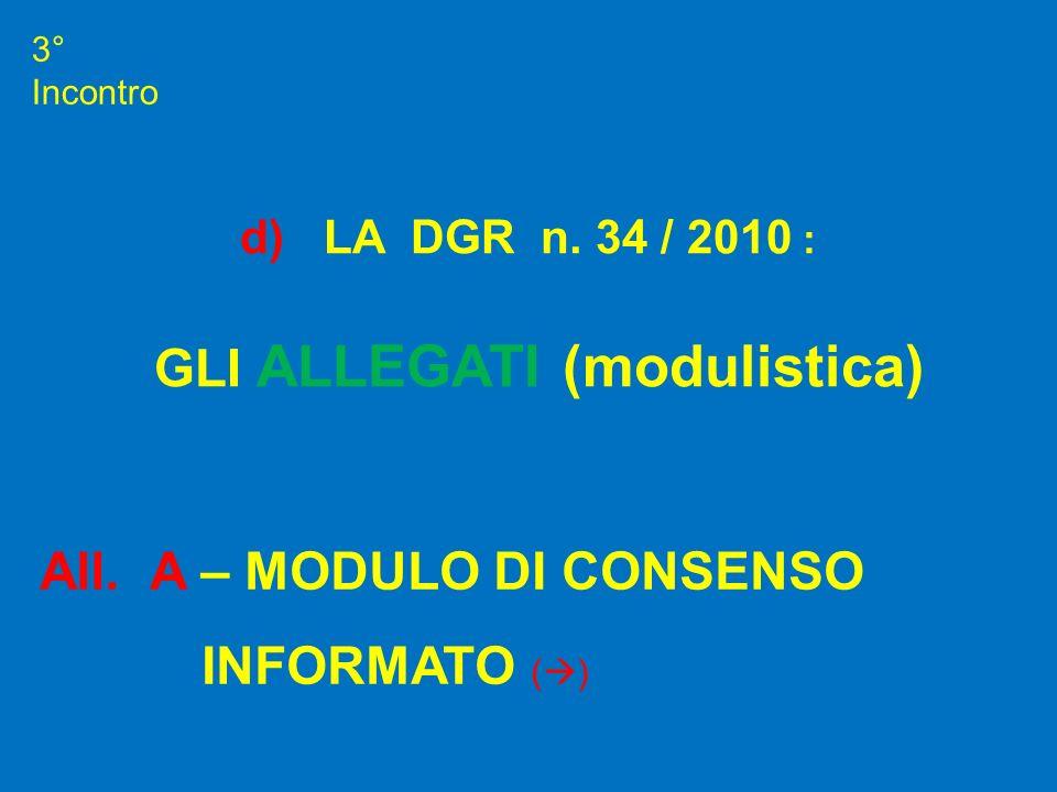 3° Incontro All. A – MODULO DI CONSENSO INFORMATO ( ) d) LA DGR n. 34 / 2010 : GLI ALLEGATI (modulistica)