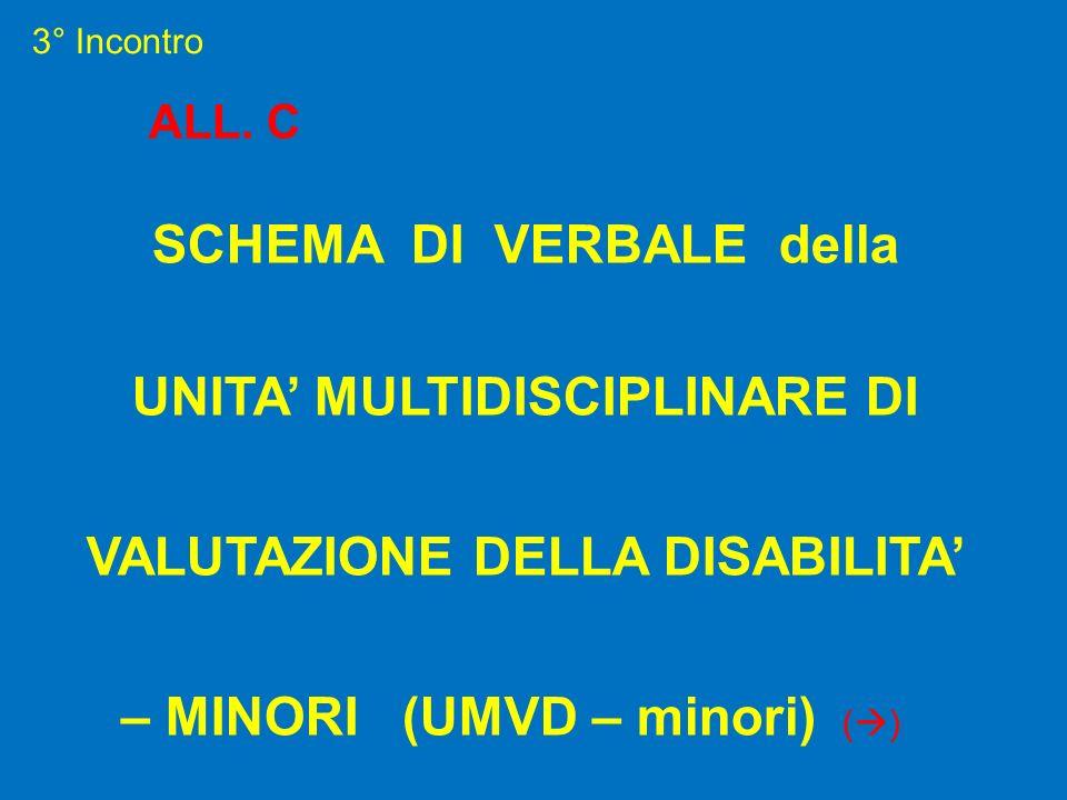 3° Incontro ALL. C SCHEMA DI VERBALE della UNITA MULTIDISCIPLINARE DI VALUTAZIONE DELLA DISABILITA – MINORI (UMVD – minori) ( )