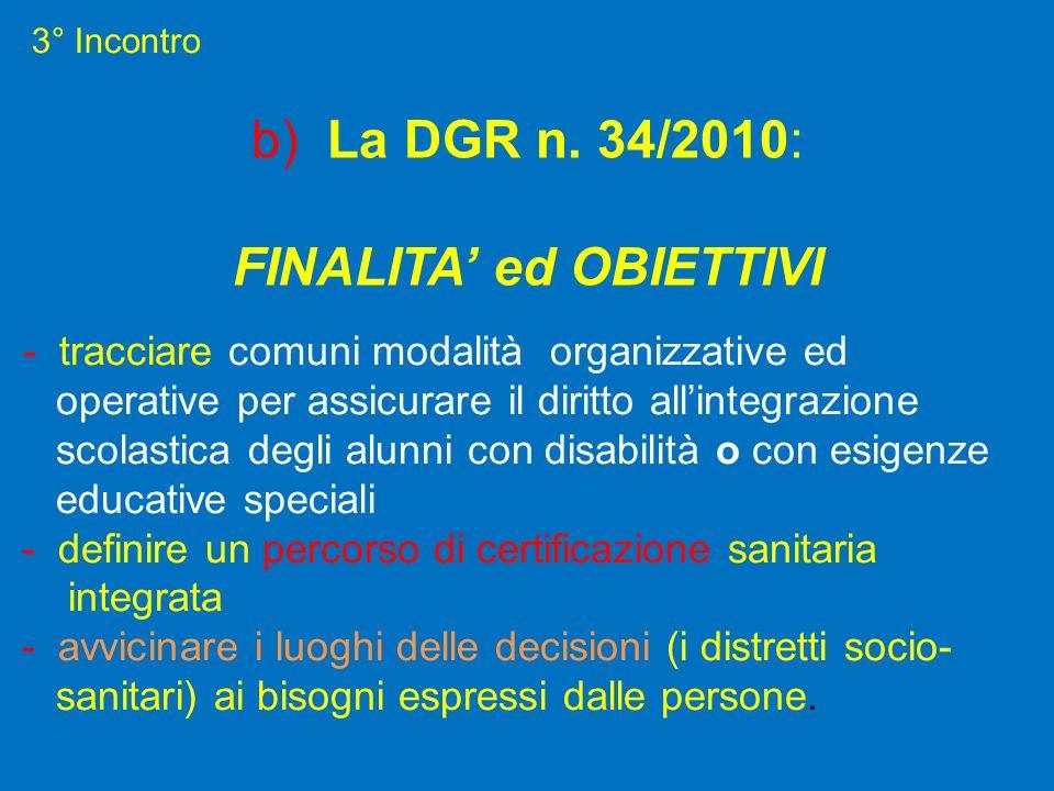 3° Incontro b) La DGR n. 34/2010: FINALITA ed OBIETTIVI - tracciare comuni modalità organizzative ed operative per assicurare il diritto allintegrazio