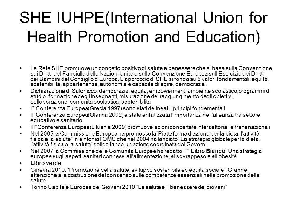 SHE IUHPE(International Union for Health Promotion and Education) La Rete SHE promuove un concetto positivo di salute e benessere che si basa sulla Convenzione sui Diritti del Fanciullo delle Nazioni Unite e sulla Convenzione Europea sullEsercizio dei Diritti dei Bambini del Consiglio dEuropa.