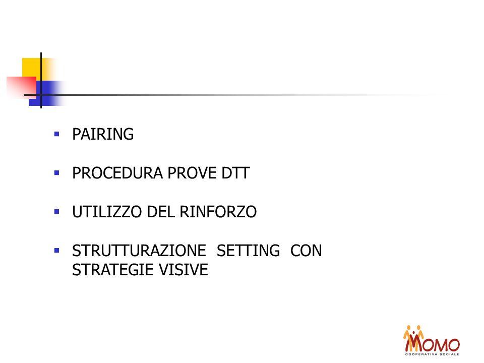 PAIRING PROCEDURA PROVE DTT UTILIZZO DEL RINFORZO STRUTTURAZIONE SETTING CON STRATEGIE VISIVE