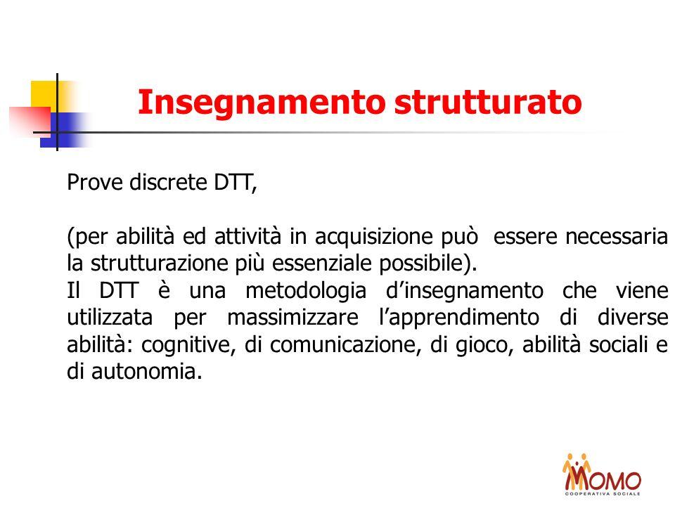 Prove discrete DTT, (per abilità ed attività in acquisizione può essere necessaria la strutturazione più essenziale possibile). Il DTT è una metodolog