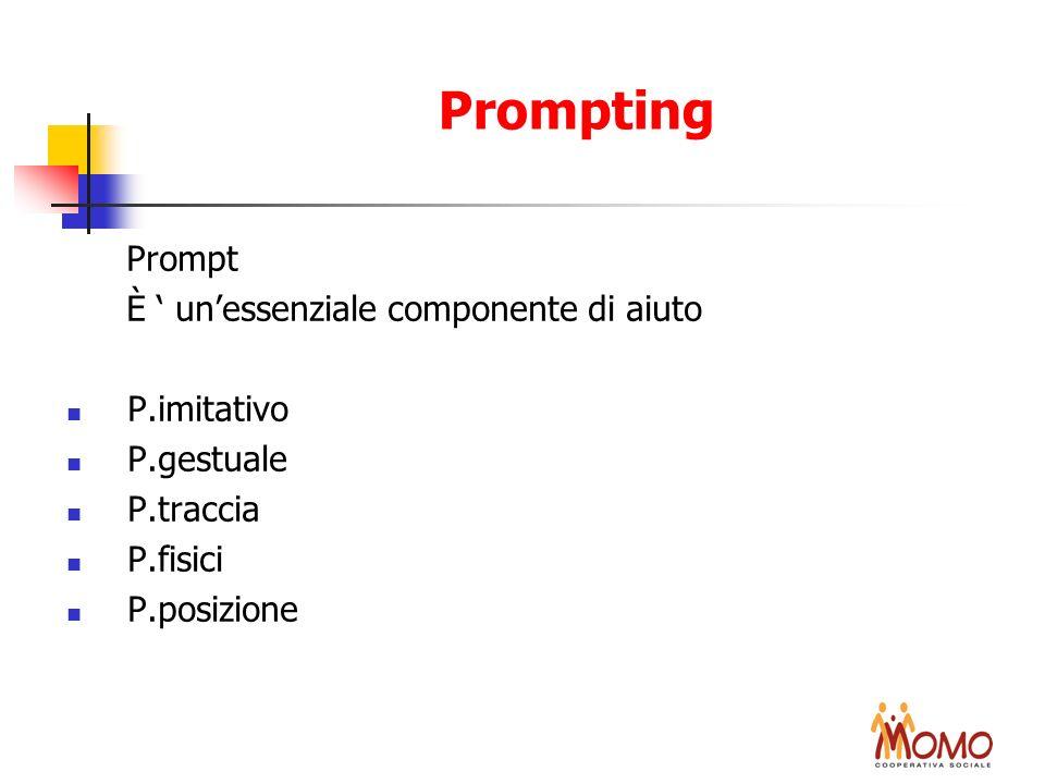 Prompting Prompt È unessenziale componente di aiuto P.imitativo P.gestuale P.traccia P.fisici P.posizione