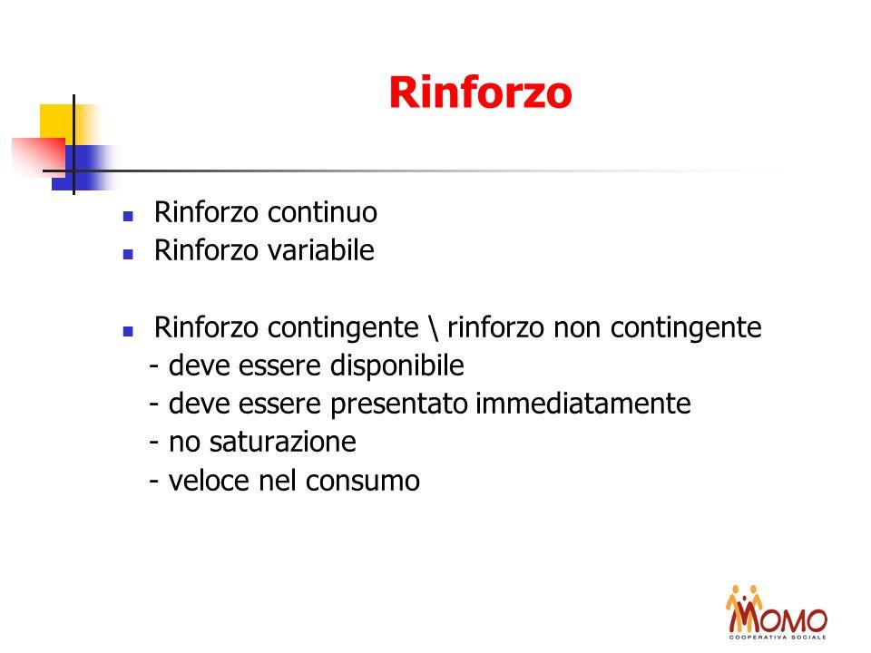 Rinforzo Rinforzo continuo Rinforzo variabile Rinforzo contingente \ rinforzo non contingente - deve essere disponibile - deve essere presentato immed