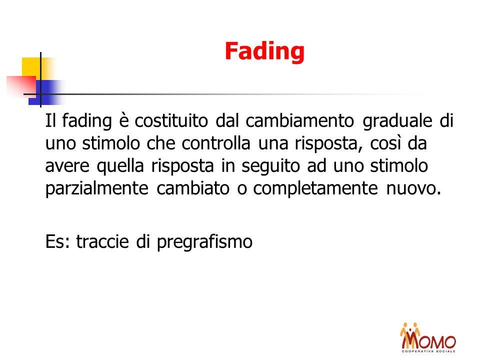 Fading Il fading è costituito dal cambiamento graduale di uno stimolo che controlla una risposta, così da avere quella risposta in seguito ad uno stim