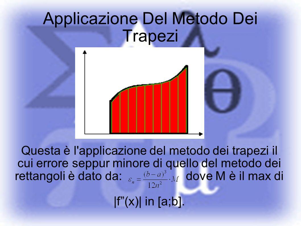 Applicazione Del Metodo Dei Trapezi Questa è l'applicazione del metodo dei trapezi il cui errore seppur minore di quello del metodo dei rettangoli è d