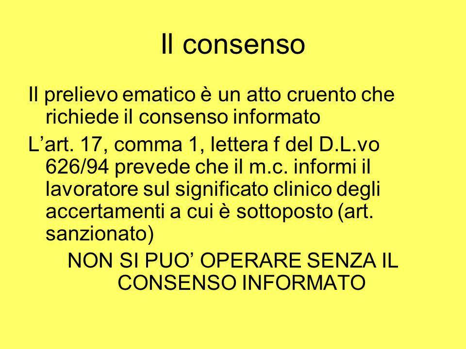 Il consenso Il prelievo ematico è un atto cruento che richiede il consenso informato Lart. 17, comma 1, lettera f del D.L.vo 626/94 prevede che il m.c
