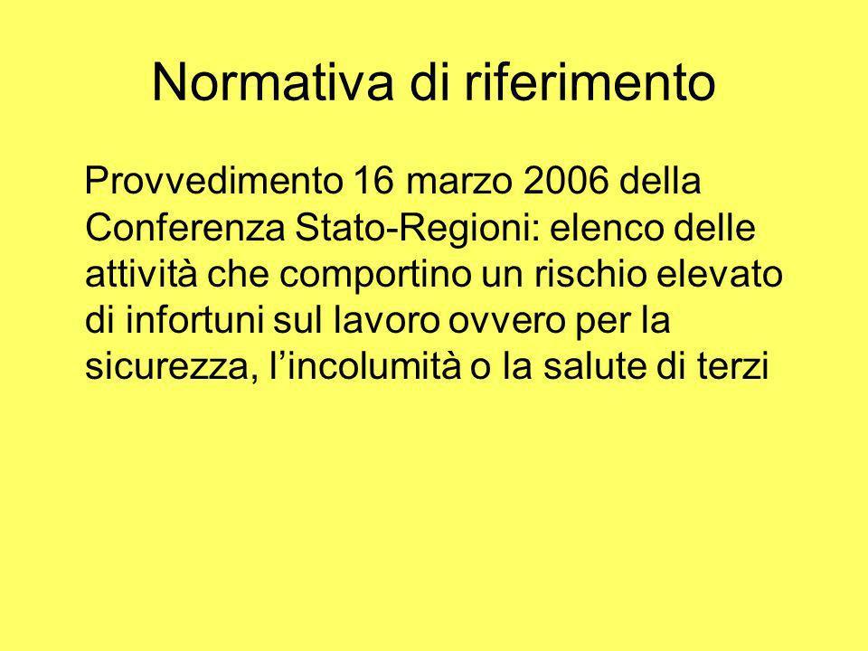 Normativa di riferimento Provvedimento 16 marzo 2006 della Conferenza Stato-Regioni: elenco delle attività che comportino un rischio elevato di infort