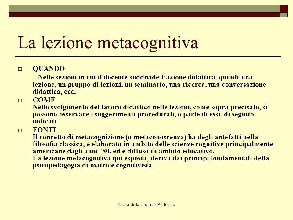 A cura della prof.ssa Portolano La lezione metacognitiva di Piero Crispiani COSE' Atto didattico, nella forma della lezione, progettato e condotto con