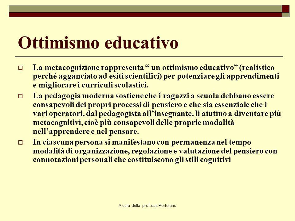 A cura della prof.ssa Portolano La predizione Un aspetto importante del controllo metacognitivo consiste nella predizione: saper riconoscere le propri