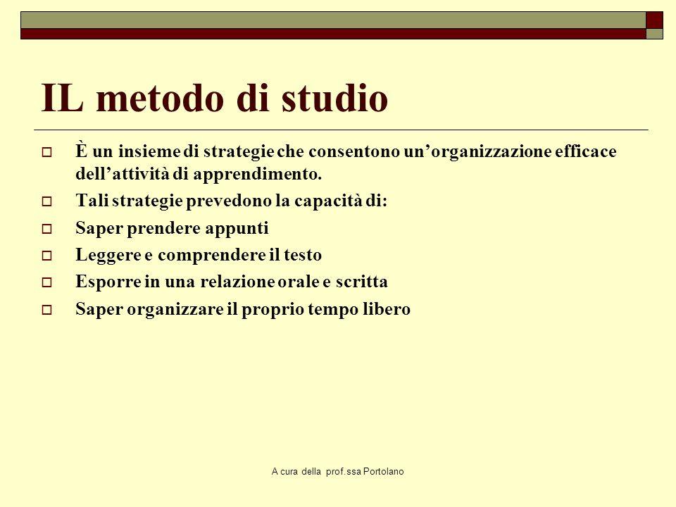 A cura della prof.ssa Portolano Metacognizione e metodo di studio Il metodo di studio richiede delle strategie e dei livelli di consapevolezza Le rice