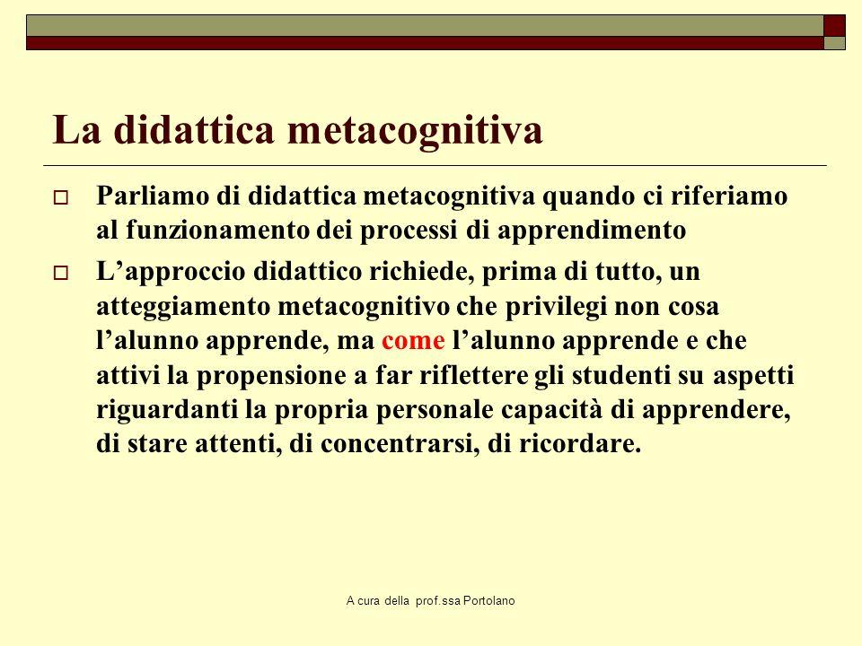 A cura della prof.ssa Portolano La consapevolezza Attraverso una maggiore conoscenza di noi stessi, delle strategie che utilizziamo quando affrontiamo