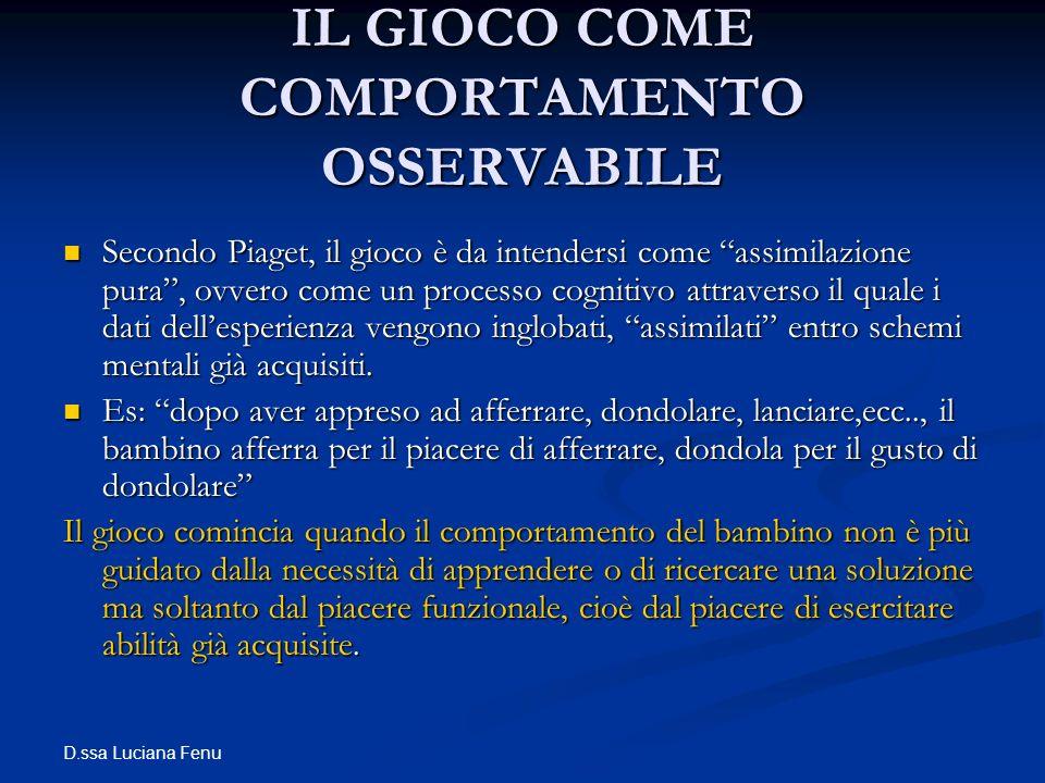 D.ssa Luciana Fenu IL GIOCO COME COMPORTAMENTO OSSERVABILE Secondo Piaget, il gioco è da intendersi come assimilazione pura, ovvero come un processo c