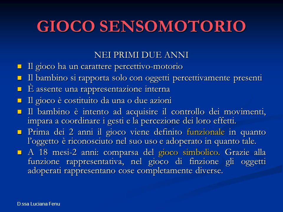 D.ssa Luciana Fenu GIOCO SENSOMOTORIO NEI PRIMI DUE ANNI Il gioco ha un carattere percettivo-motorio Il gioco ha un carattere percettivo-motorio Il ba