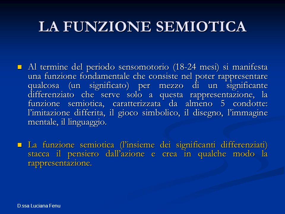 D.ssa Luciana Fenu LA FUNZIONE SEMIOTICA Al termine del periodo sensomotorio (18-24 mesi) si manifesta una funzione fondamentale che consiste nel pote