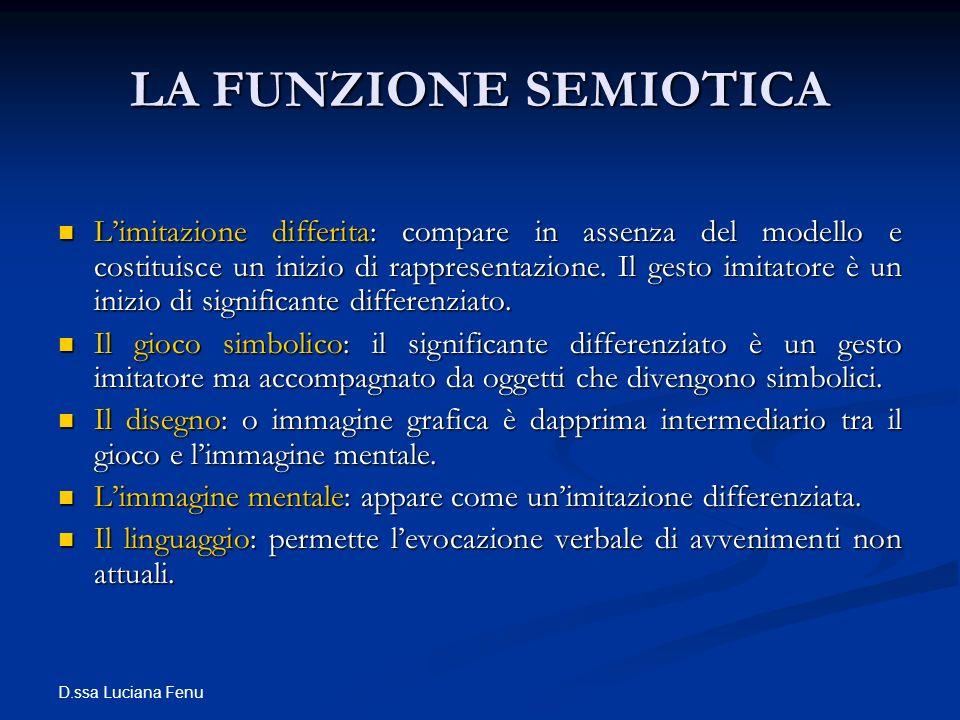 D.ssa Luciana Fenu LA FUNZIONE SEMIOTICA Limitazione differita: compare in assenza del modello e costituisce un inizio di rappresentazione. Il gesto i