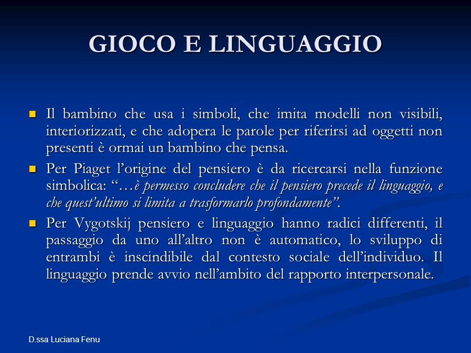 D.ssa Luciana Fenu GIOCO E LINGUAGGIO Il bambino che usa i simboli, che imita modelli non visibili, interiorizzati, e che adopera le parole per riferi