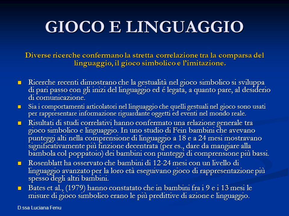 D.ssa Luciana Fenu GIOCO E LINGUAGGIO Diverse ricerche confermano la stretta correlazione tra la comparsa del linguaggio, il gioco simbolico e limitaz