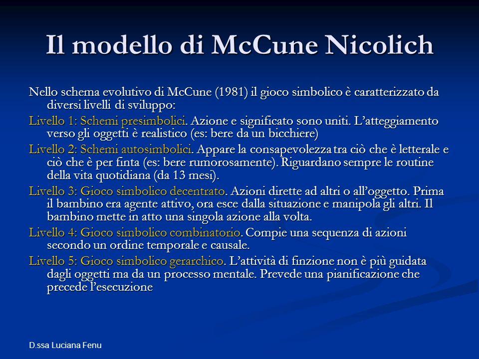 D.ssa Luciana Fenu Il modello di McCune Nicolich Nello schema evolutivo di McCune (1981) il gioco simbolico è caratterizzato da diversi livelli di svi
