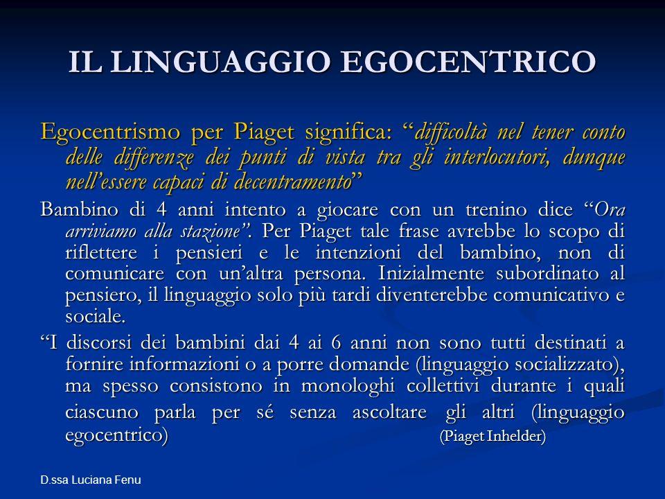 D.ssa Luciana Fenu IL LINGUAGGIO EGOCENTRICO Egocentrismo per Piaget significa: difficoltà nel tener conto delle differenze dei punti di vista tra gli