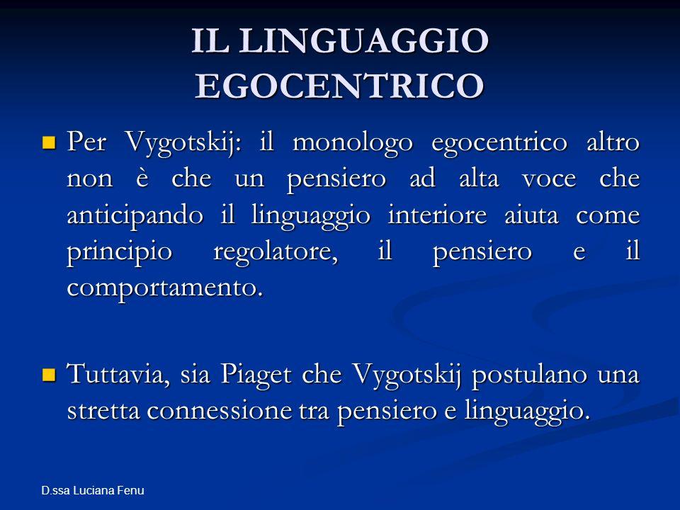 D.ssa Luciana Fenu IL LINGUAGGIO EGOCENTRICO Per Vygotskij: il monologo egocentrico altro non è che un pensiero ad alta voce che anticipando il lingua