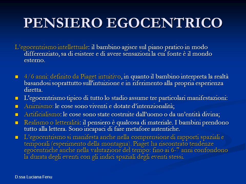 D.ssa Luciana Fenu PENSIERO EGOCENTRICO Legocentrismo intellettuale: il bambino agisce sul piano pratico in modo differenziato, sa di esistere e di av
