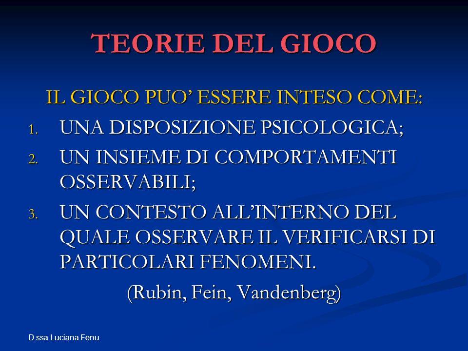 D.ssa Luciana Fenu TEORIE DEL GIOCO IL GIOCO PUO ESSERE INTESO COME: 1. UNA DISPOSIZIONE PSICOLOGICA; 2. UN INSIEME DI COMPORTAMENTI OSSERVABILI; 3. U