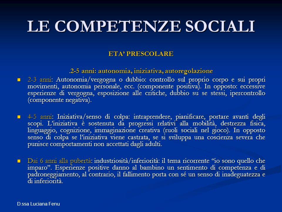 D.ssa Luciana Fenu LE COMPETENZE SOCIALI ETA PRESCOLARE.2-5 anni: autonomia, iniziativa, autoregolazione 2-3 anni: Autonomia/vergogna o dubbio: contro