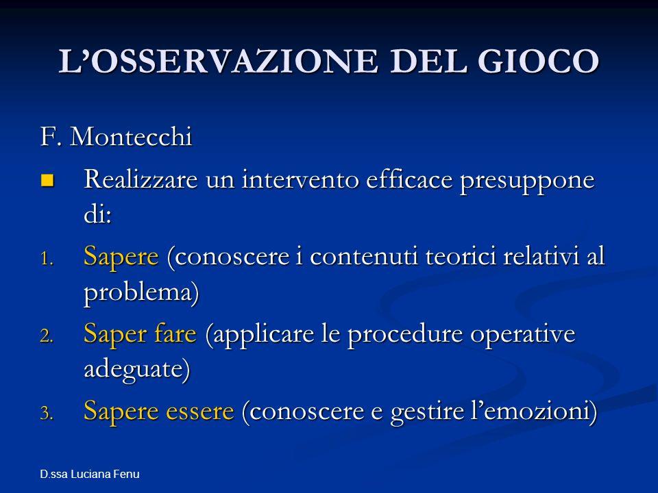 D.ssa Luciana Fenu LOSSERVAZIONE DEL GIOCO F. Montecchi Realizzare un intervento efficace presuppone di: Realizzare un intervento efficace presuppone
