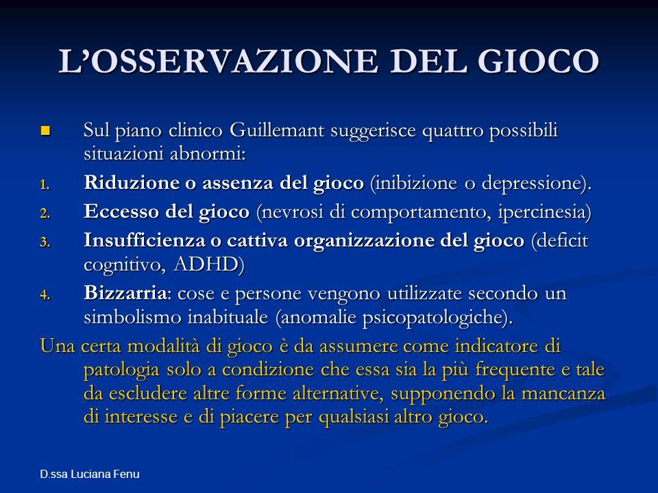 D.ssa Luciana Fenu LOSSERVAZIONE DEL GIOCO Sul piano clinico Guillemant suggerisce quattro possibili situazioni abnormi: Sul piano clinico Guillemant