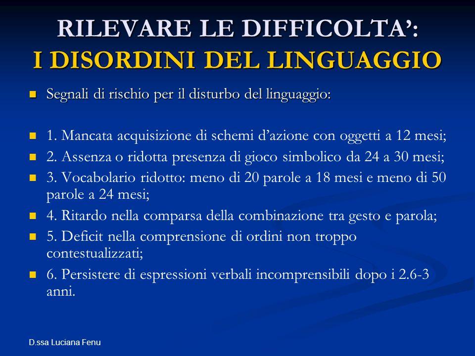D.ssa Luciana Fenu RILEVARE LE DIFFICOLTA: I DISORDINI DEL LINGUAGGIO Segnali di rischio per il disturbo del linguaggio: Segnali di rischio per il dis