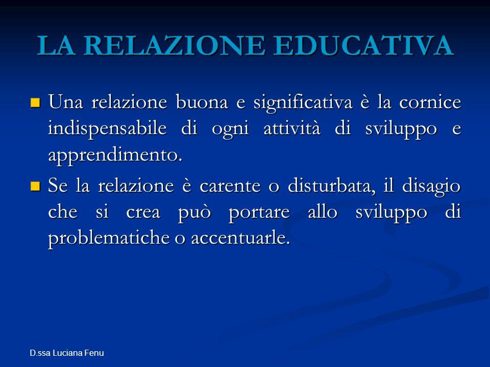 D.ssa Luciana Fenu LA RELAZIONE EDUCATIVA Una relazione buona e significativa è la cornice indispensabile di ogni attività di sviluppo e apprendimento