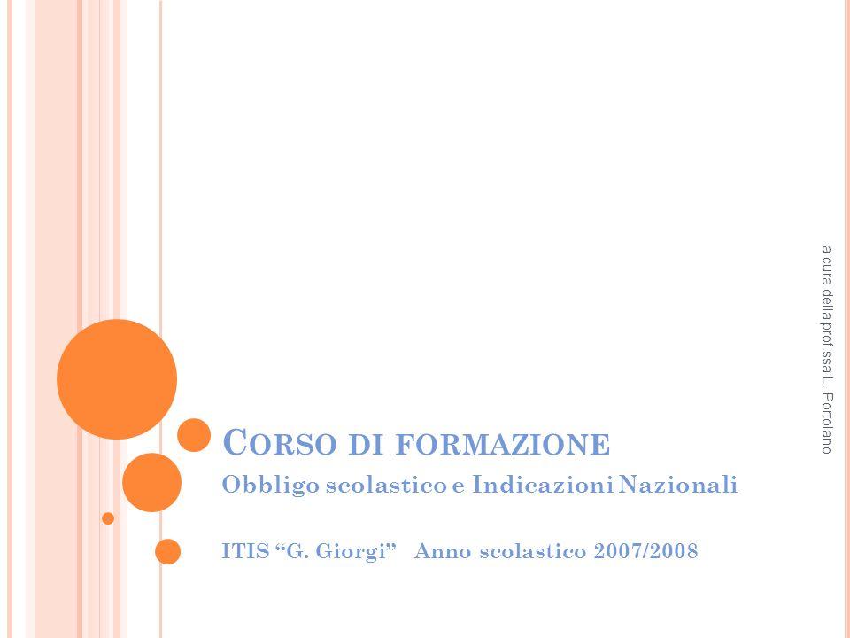 C ORSO DI FORMAZIONE Obbligo scolastico e Indicazioni Nazionali ITIS G.