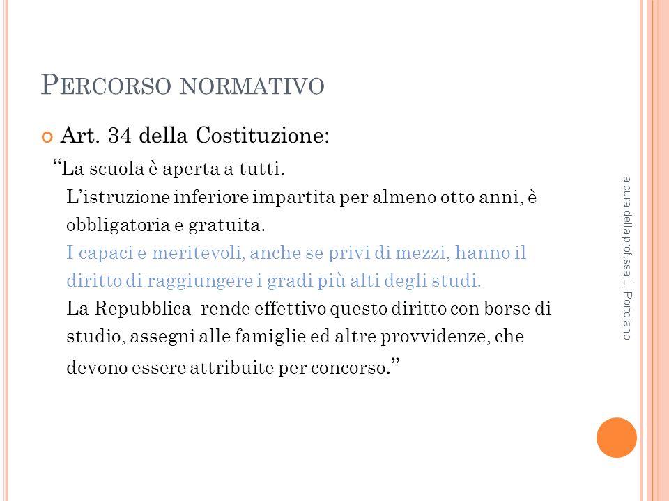 P ERCORSO NORMATIVO Art. 34 della Costituzione: La scuola è aperta a tutti.
