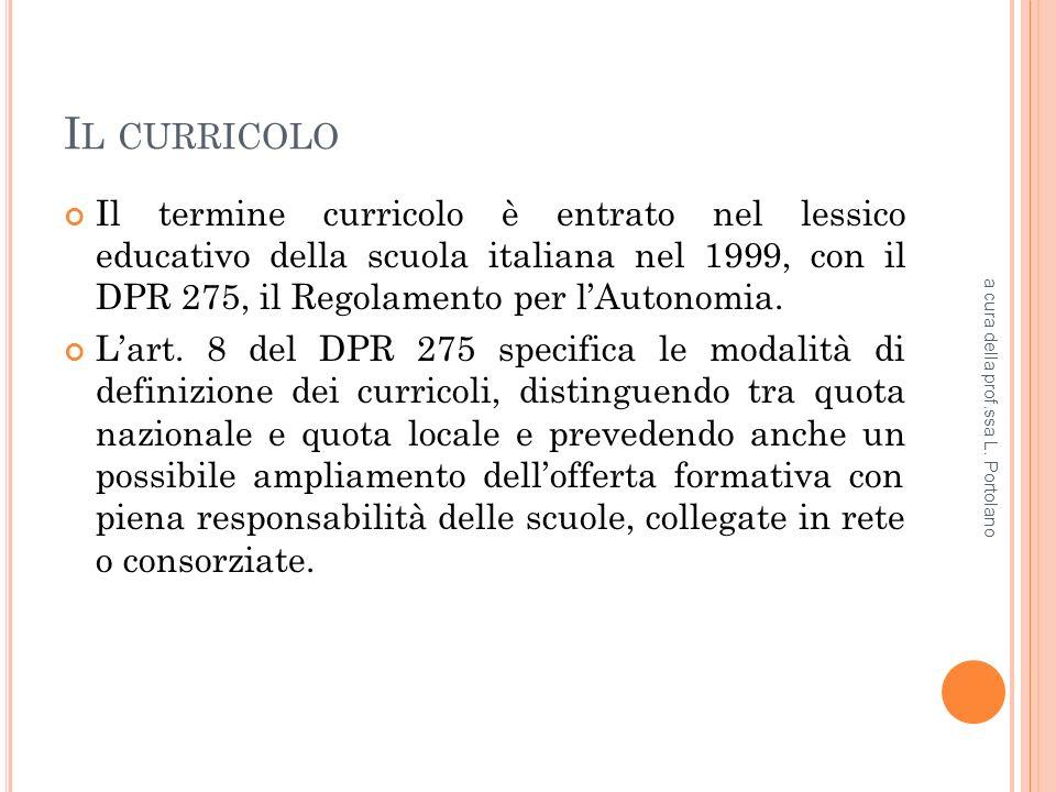 I L CURRICOLO Il termine curricolo è entrato nel lessico educativo della scuola italiana nel 1999, con il DPR 275, il Regolamento per lAutonomia.