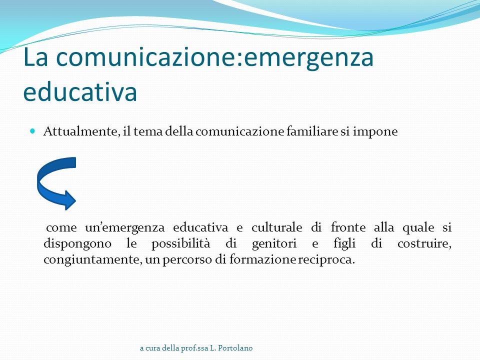 La comunicazione:emergenza educativa Attualmente, il tema della comunicazione familiare si impone come unemergenza educativa e culturale di fronte alla quale si dispongono le possibilità di genitori e figli di costruire, congiuntamente, un percorso di formazione reciproca.