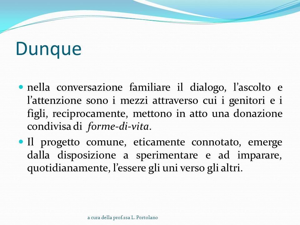 Dunque nella conversazione familiare il dialogo, lascolto e lattenzione sono i mezzi attraverso cui i genitori e i figli, reciprocamente, mettono in atto una donazione condivisa di forme-di-vita.