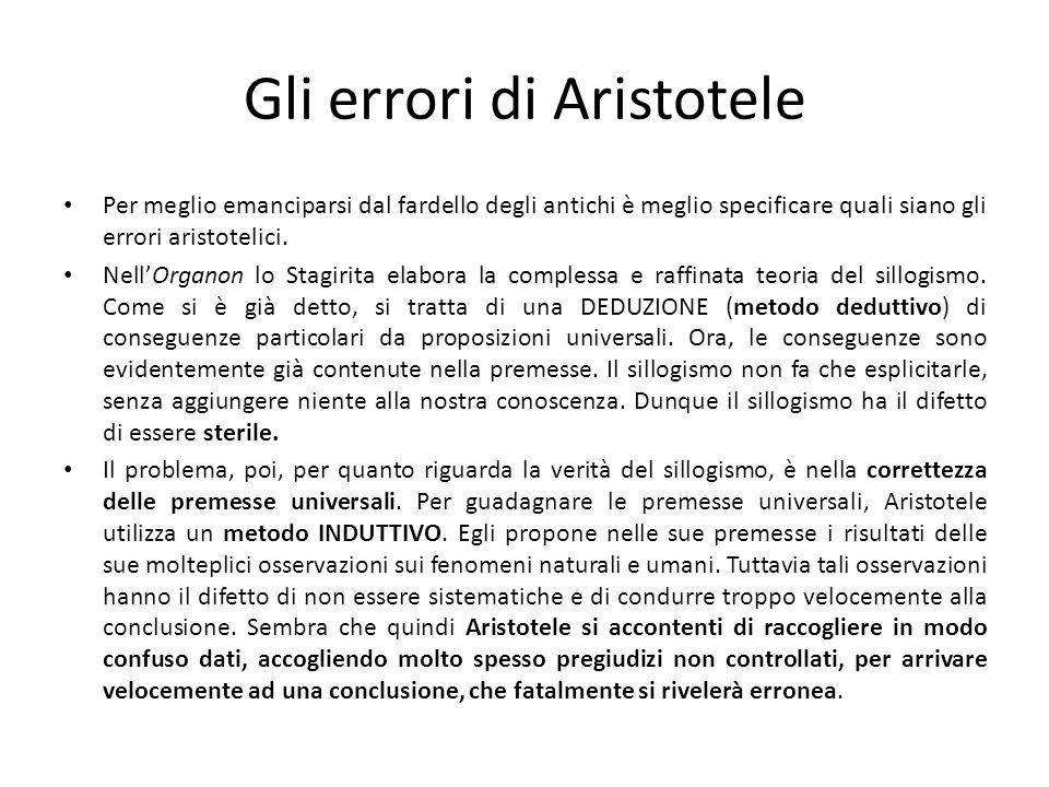 Gli errori di Aristotele Per meglio emanciparsi dal fardello degli antichi è meglio specificare quali siano gli errori aristotelici. NellOrganon lo St