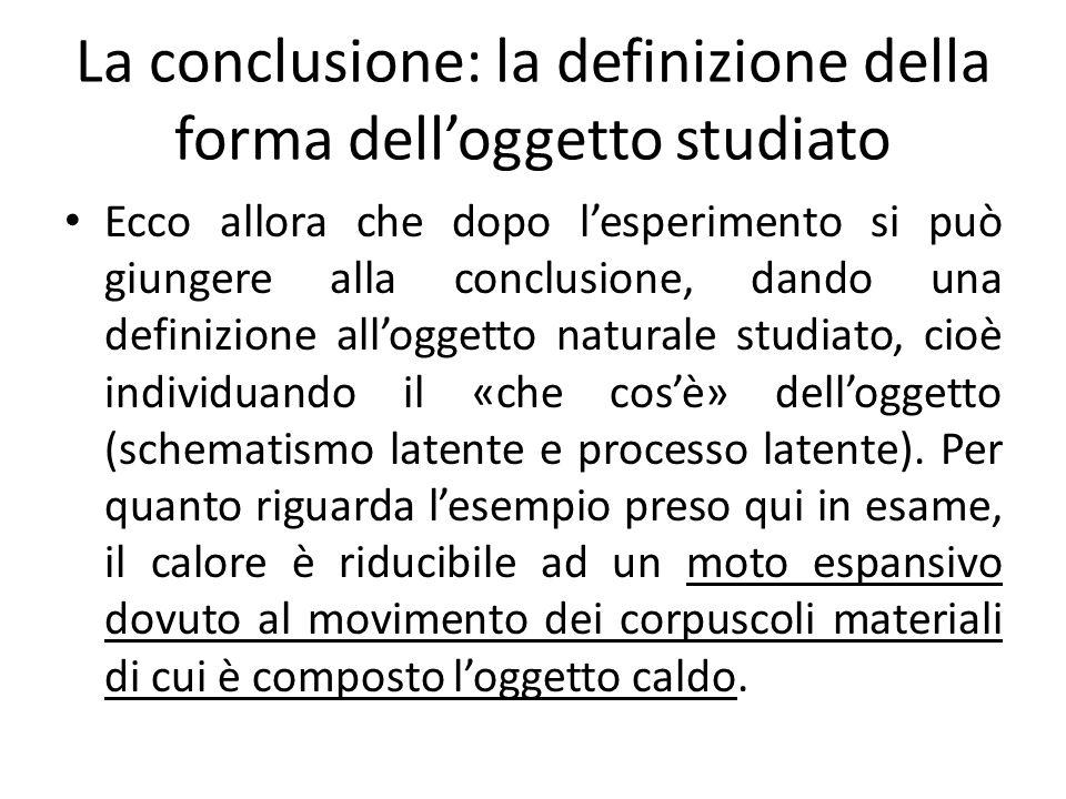 La conclusione: la definizione della forma delloggetto studiato Ecco allora che dopo lesperimento si può giungere alla conclusione, dando una definizi