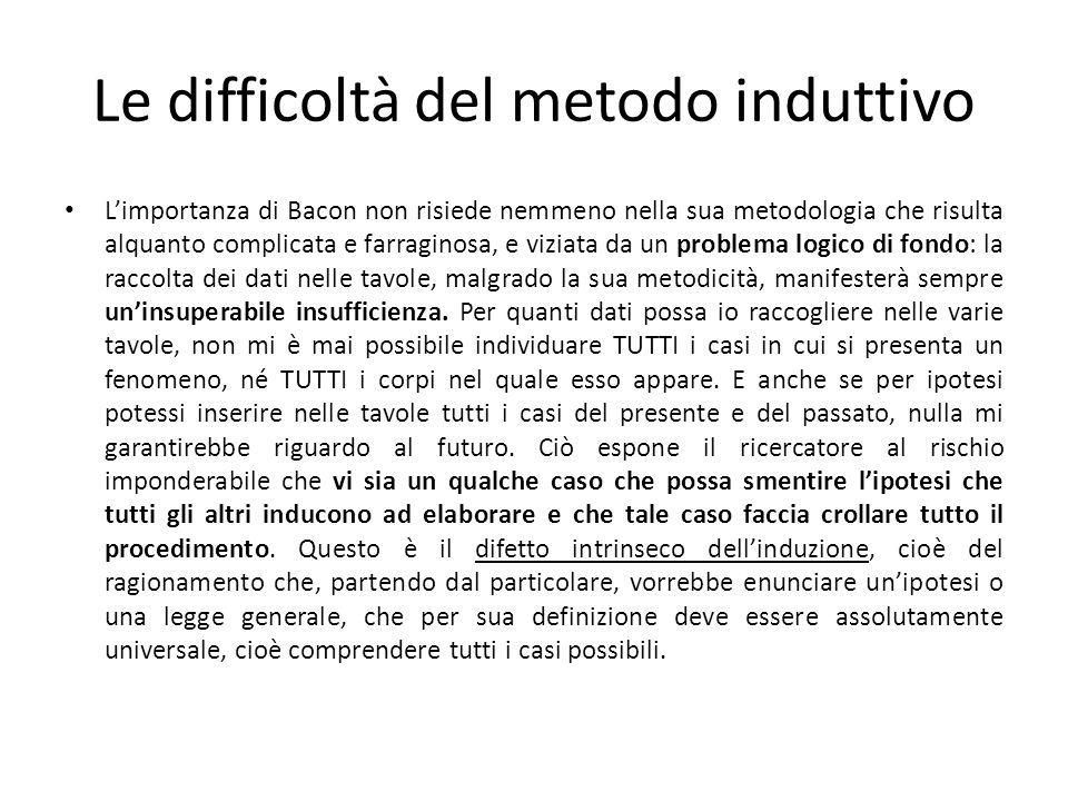 Le difficoltà del metodo induttivo Limportanza di Bacon non risiede nemmeno nella sua metodologia che risulta alquanto complicata e farraginosa, e viz