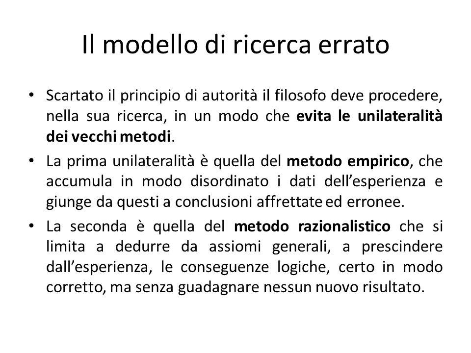 Il modello di ricerca errato Scartato il principio di autorità il filosofo deve procedere, nella sua ricerca, in un modo che evita le unilateralità de
