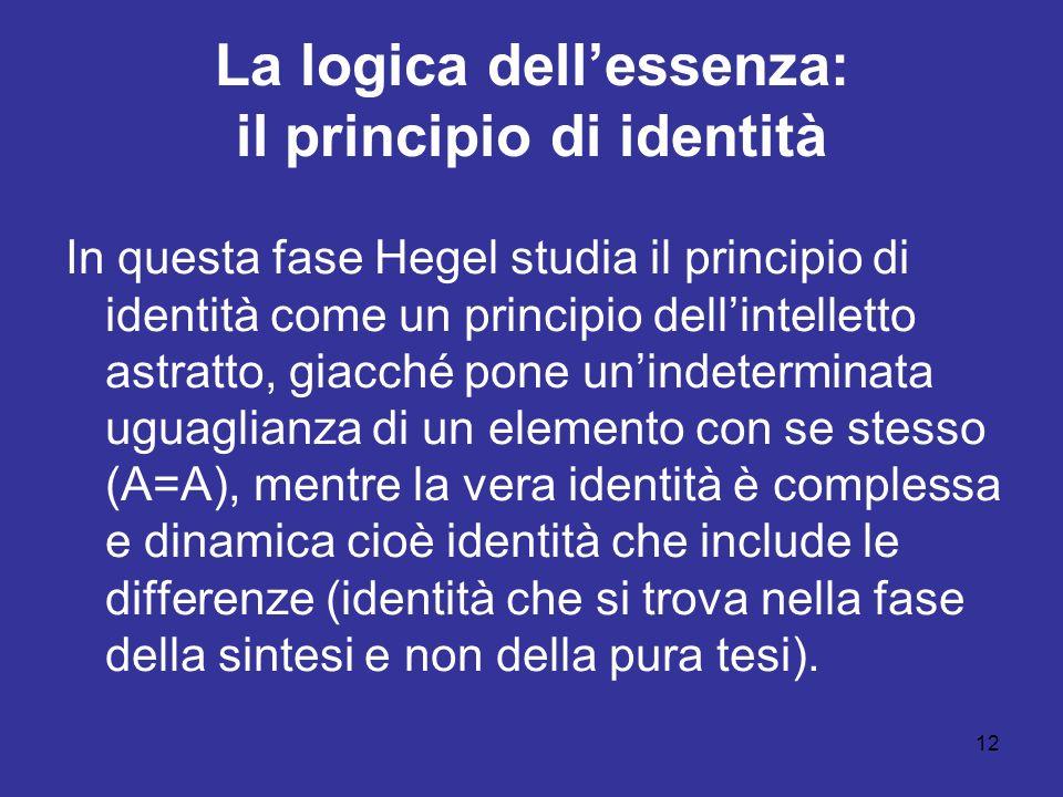 12 La logica dellessenza: il principio di identità In questa fase Hegel studia il principio di identità come un principio dellintelletto astratto, giacché pone unindeterminata uguaglianza di un elemento con se stesso (A=A), mentre la vera identità è complessa e dinamica cioè identità che include le differenze (identità che si trova nella fase della sintesi e non della pura tesi).