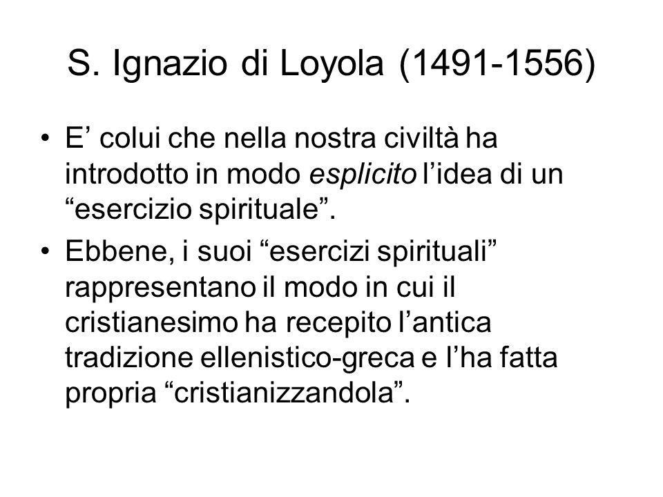 S. Ignazio di Loyola (1491-1556) E colui che nella nostra civiltà ha introdotto in modo esplicito lidea di un esercizio spirituale. Ebbene, i suoi ese