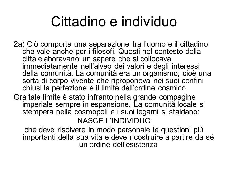 Cittadino e individuo 2a) Ciò comporta una separazione tra luomo e il cittadino che vale anche per i filosofi. Questi nel contesto della città elabora