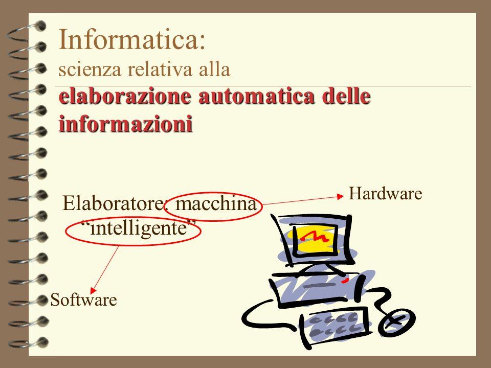 elaborazione automatica delle informazioni Informatica: scienza relativa alla elaborazione automatica delle informazioni Elaboratore: macchina intelli