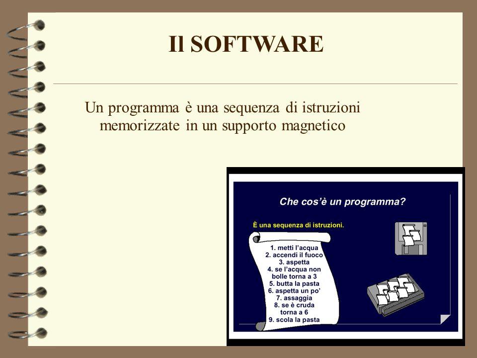 Il SOFTWARE Un programma è una sequenza di istruzioni memorizzate in un supporto magnetico