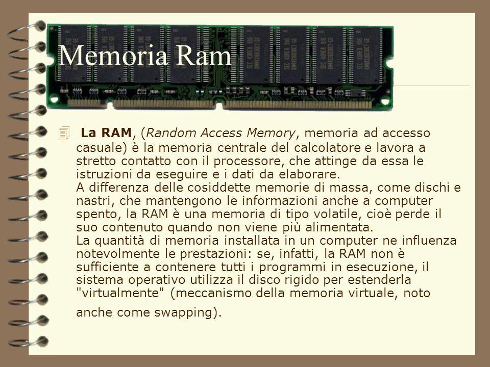 Memoria Ram La RAM, (Random Access Memory, memoria ad accesso casuale) è la memoria centrale del calcolatore e lavora a stretto contatto con il proces