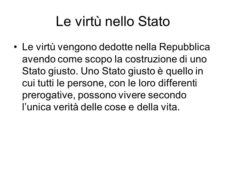 Le virtù nello Stato Le virtù vengono dedotte nella Repubblica avendo come scopo la costruzione di uno Stato giusto. Uno Stato giusto è quello in cui
