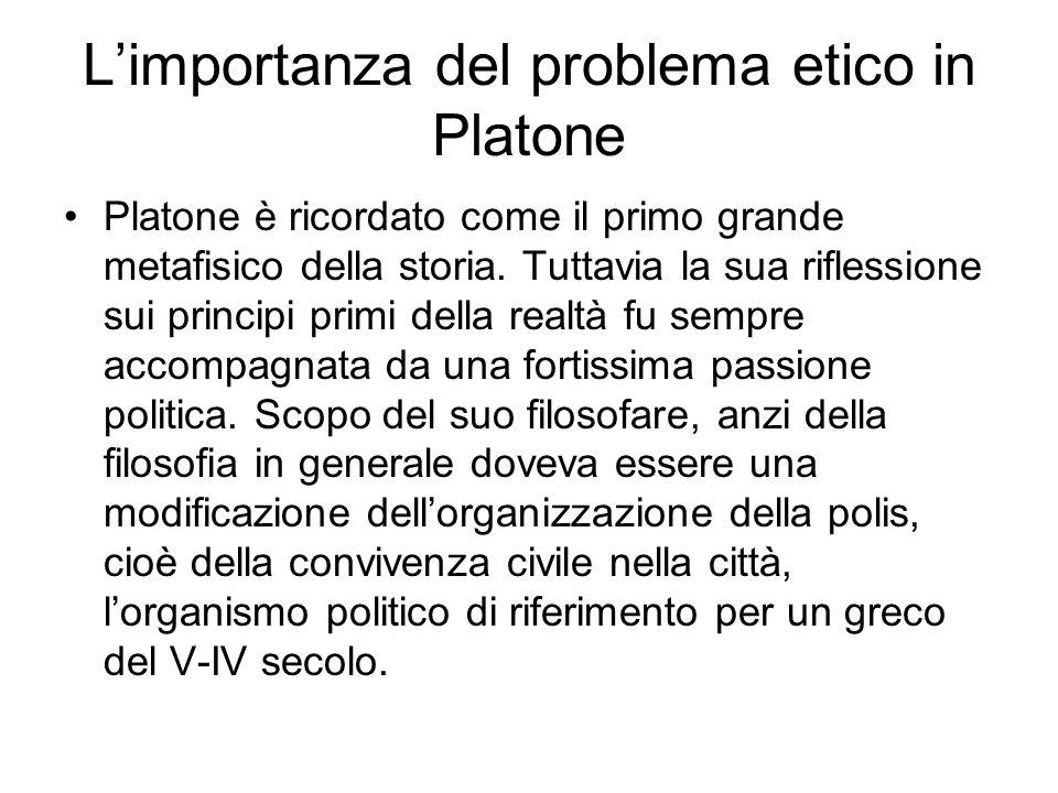 Limportanza del problema etico in Platone Platone è ricordato come il primo grande metafisico della storia. Tuttavia la sua riflessione sui principi p
